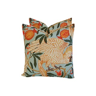 Tropical Parrot & Pomegranate Feather/Down Pillows - A Pair