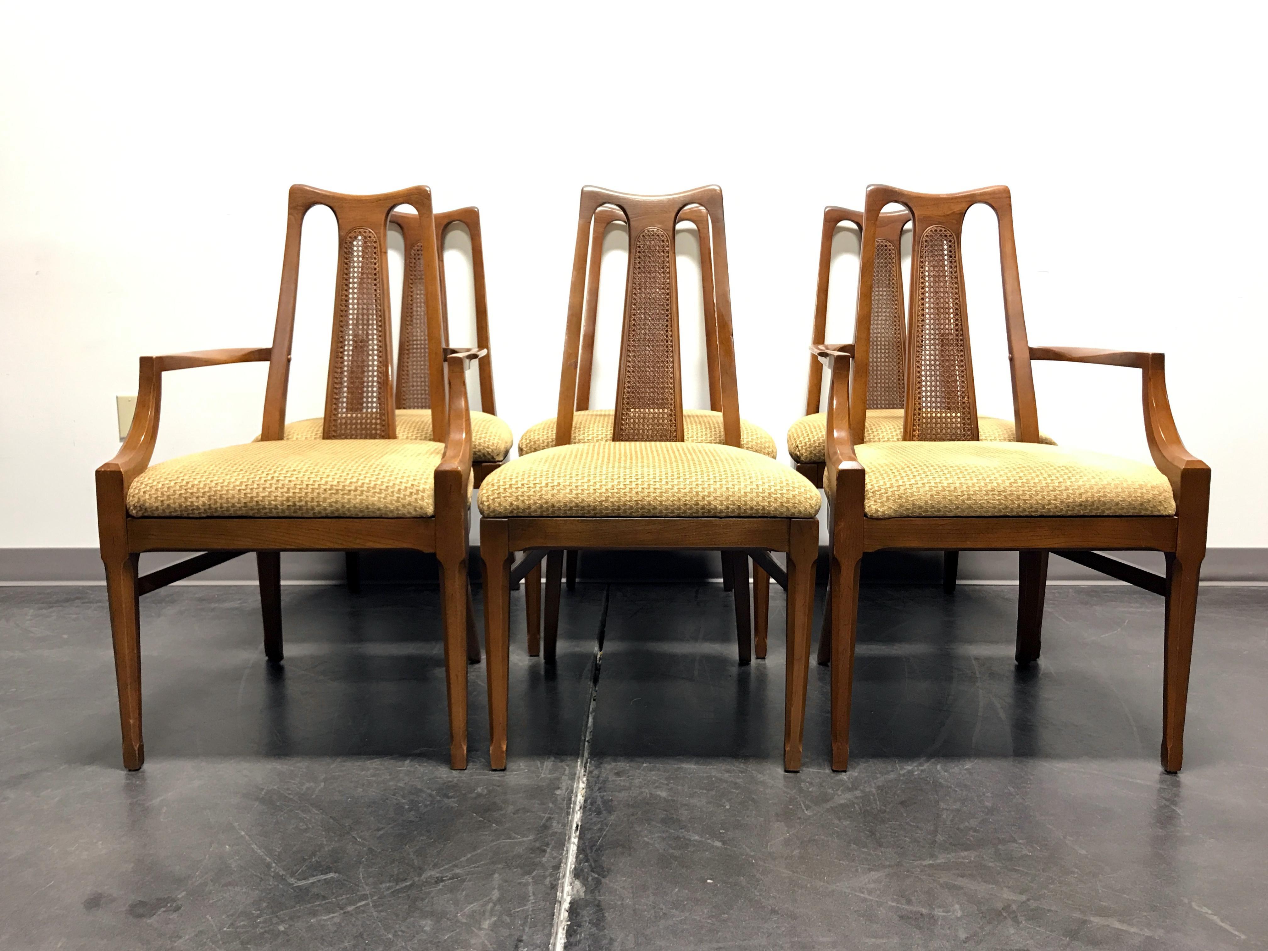 WHITE FURNITURE CO Mid Century Modern Walnut U0026 Cane Dining Chairs   Set Of  6