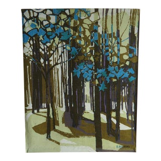 Modernist Forest Print on Linen Wall Hanging by Robert Bushong for Tom Tru