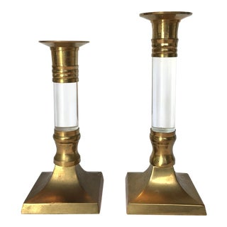 Vintage Lucite & Brass Candle Holders - A Pair