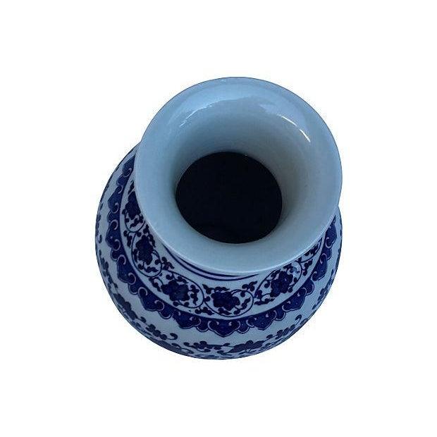 Image of Blue & White Asian Floral Vase