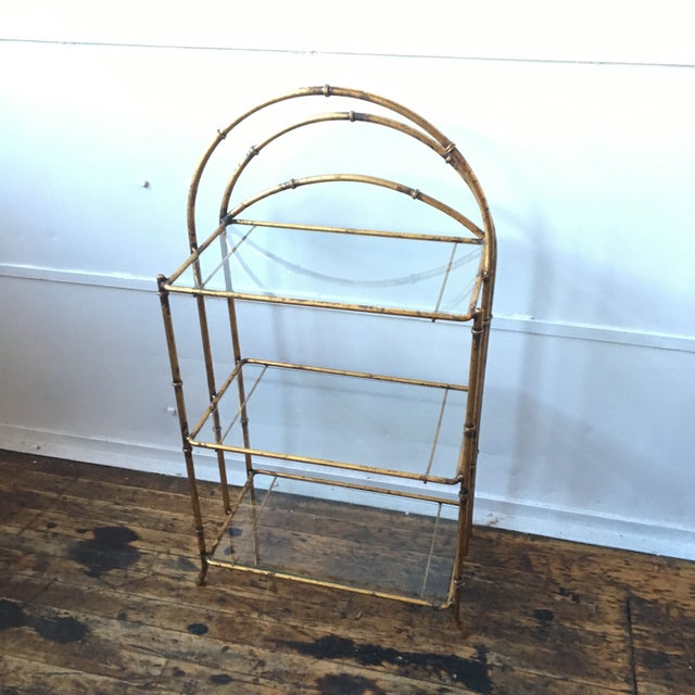 Gold Faux Bamboo Three Tiered Shelf - Image 3 of 7