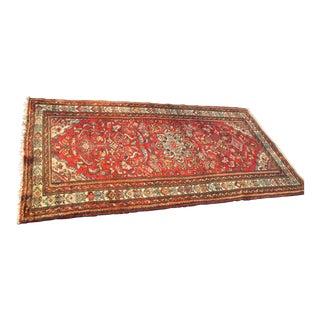 Vintage Red Floral Wool Persian Rug - 3′1″ × 6′1″