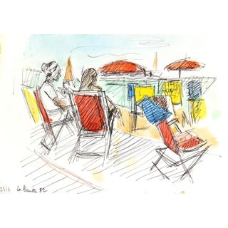 Vintage Watercolor Painting - Beach, 1982
