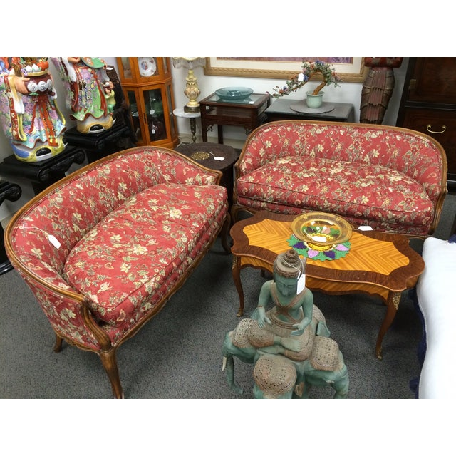Image of 1800's Down-Cushion Settees with Maple Frame - Two