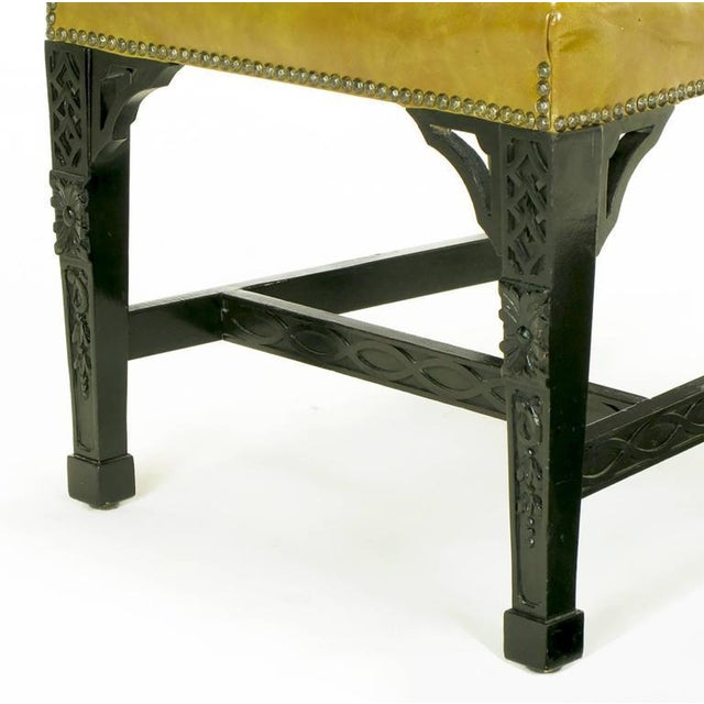 Eight Chinese Chippendale Ebonized Mahogany Dining Chairs with Leather Seats - Image 8 of 9