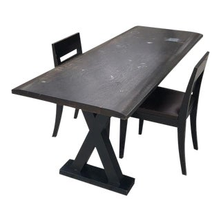 "Christian Liaigre ""Courier"" Black Table and Chairs - Set of 3"