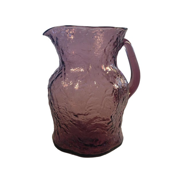 Morgantown Crinkle Glass Amethyst Pitcher - Image 1 of 6