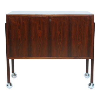 Danish Modernist Rosewood Lockable Bar Cabinet