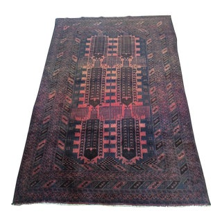 Antique Turkoman Bokhara Hand Knotted Wool Rug - 4′ × 6′2″