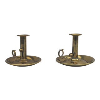 Pair of 19th Century Brass Push-Up Candleholders