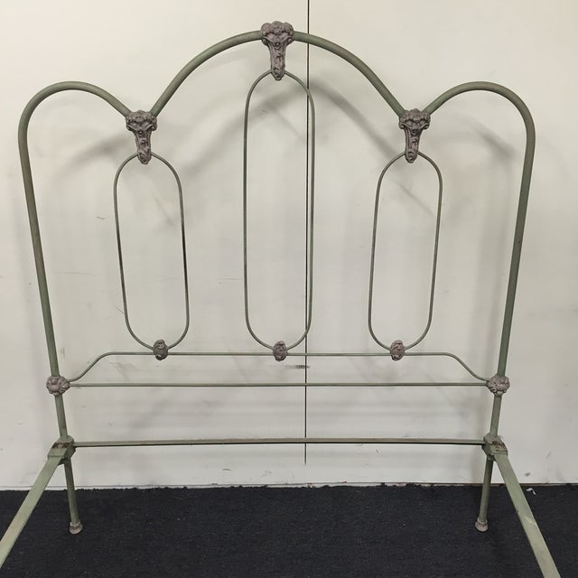 Image of Pale Green Antique Full Iron Bed