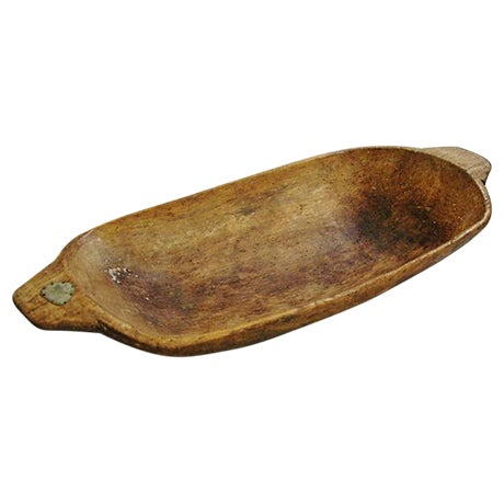 Image of Antique French Carved Harvest Dough Bowl