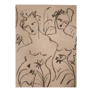 'Botanical Figure I' Charcoal Drawing
