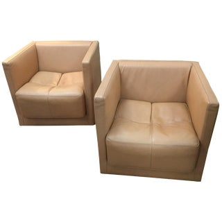 Roche Bobois Leather Swivel Chairs - A Pair