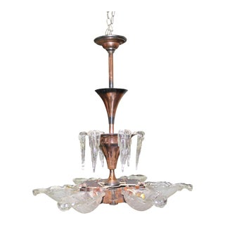 Monumental French Art Deco Chandelier by Ezan Glass and Copper,Circa 1930s