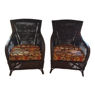 Black Wicker Arm Chairs With Cushions - A Pair