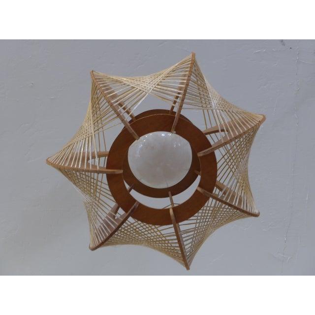 Danish Modern Wood Woven Geometric Swag Lamp - Image 6 of 7
