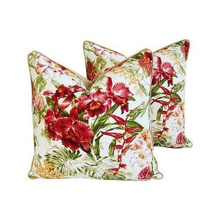 Tropical Orchid Barkcloth Pillows - A Pair