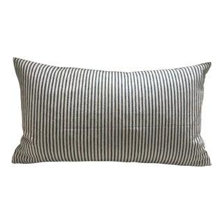 """Vintage Navy & White Ticking Cloth Pillow Case - 14"""" x 24"""""""