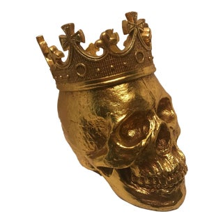 Large Hand Painted Gold Skull & Crown