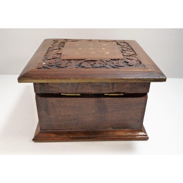 Vintage Square Carved Wood Box - Image 7 of 11