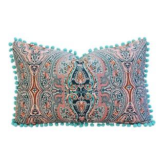 "18"" x 12"" Custom Tailored Pink/Aqua Paisley Velvet Pom-Pom Feather/Down Pillow"