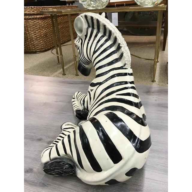 Large Mid Century Ceramic Zebra Statue - Image 6 of 9