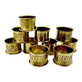 """Darlings and Sweeties"" Solid Brass Napkin Rings by Sir/Madam - Set of 10"