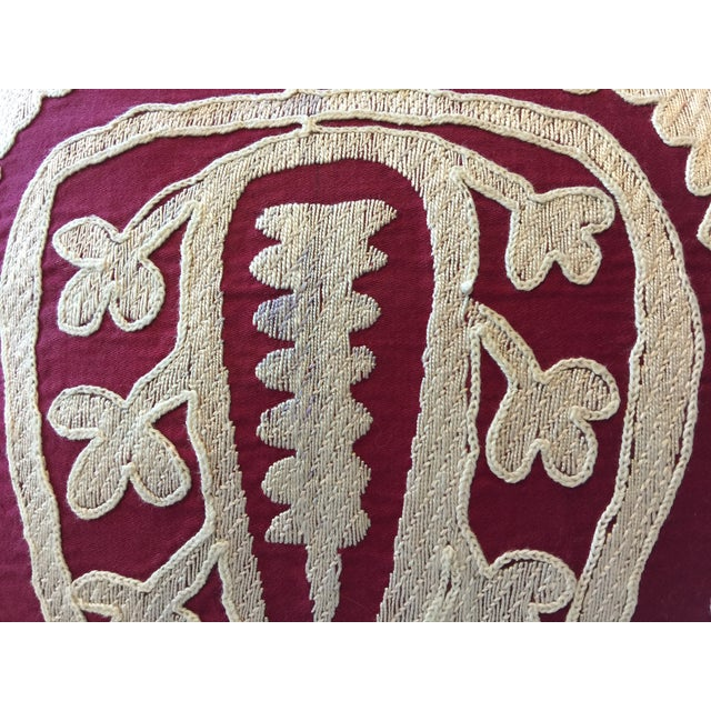 87 Year Old Vintage Hand Embroidered Samarkand Pillow - Image 3 of 5