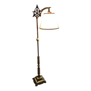 Antique Alabaster Bridge Arm Floor Lamp