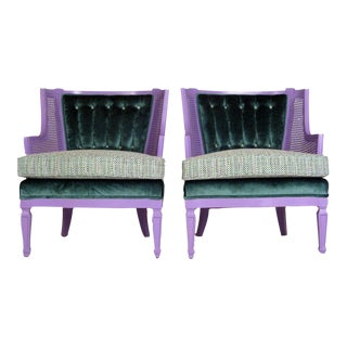 Chanel Style Purple & Teal Caned Slipper Chairs - Pair