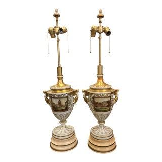 Antique Dresden German Porcelain Lamps - Carl Thieme Potschappel