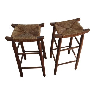 Charlotte Perriand Style Rattan & Wood Stools - A Pair