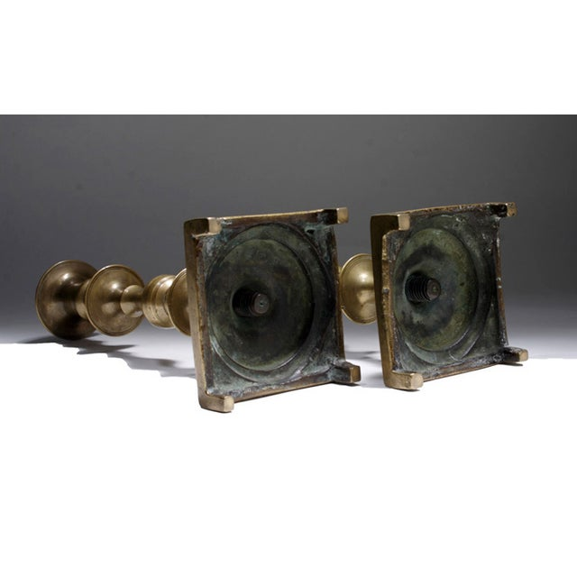 Image of 19th Century Russian Brass Candlesticks- a Pair