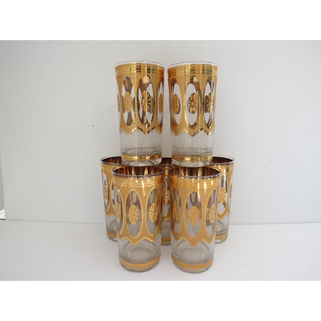 Vintage Hollywood Regency Gold Glasses - Set of 7 - Image 2 of 6