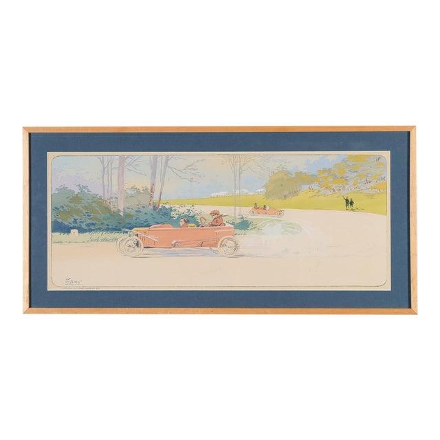 """1913 Original French Art Deco """"Dedalia Car Race"""" Poster - Image 1 of 8"""