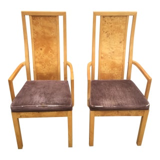 Thomasville Burl Wood Arm Chairs- A Pair
