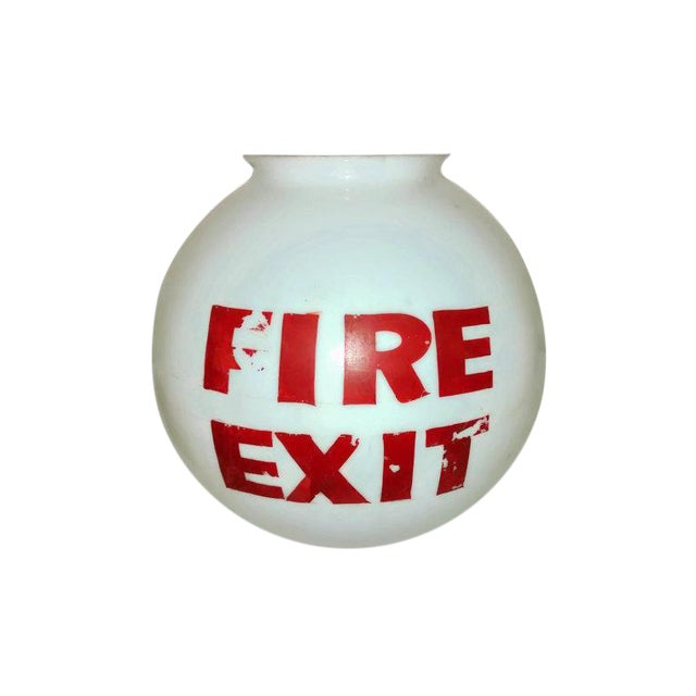 Old Mid-Century Fire Exit Glass Shade From Theater - Image 1 of 5