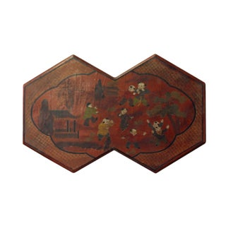 Chinese Red Brown Lacquer Double Hexagon Shape Kids Graphic Box