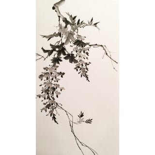 Chinese Watercolor Wisteria Painting