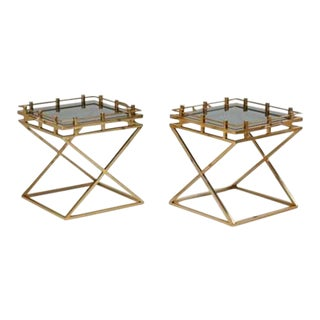 Campaign Style Side Tables With Glass Inserts - A Pair
