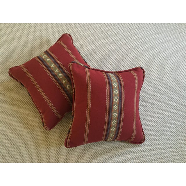 Red Southwestern Stripe Pillows - A Pair - Image 2 of 9