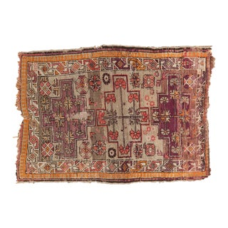 "Antique Caucasian Square Rug - 3'1"" x 4'2"""