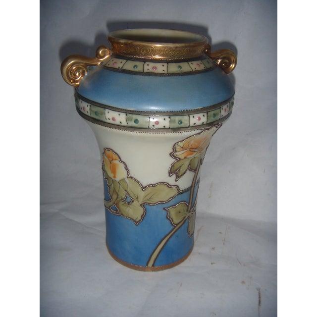 Powder Blue & Peach Nippon Vases - A Pair - Image 5 of 9