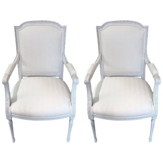 Gustavian Grey Newly Upholstered French Fauteuil Armchairs - a Pair