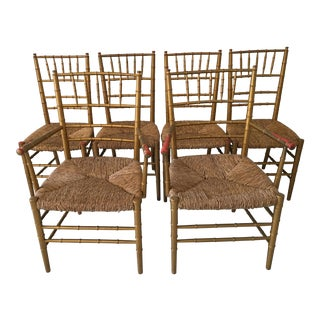 Vintage Gold Gilt Bamboo Style Chairs - Set of 6