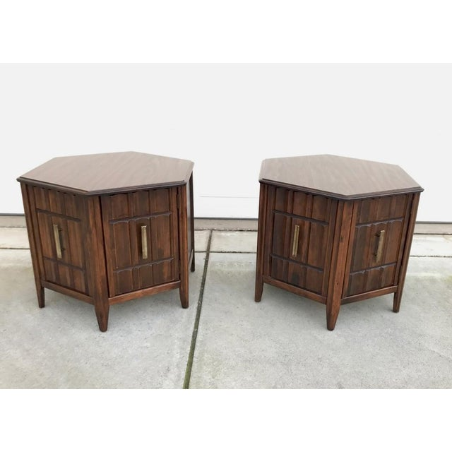 Mersman Mid Century Hexagon Brutalist-Style Side Tables or Nightstands - a Pair - Image 3 of 8