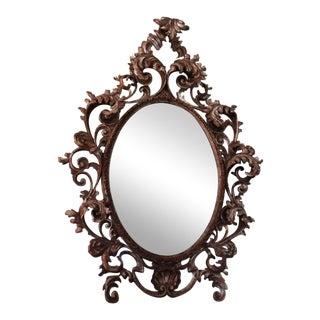 Silvered Rococo Oval Mirror
