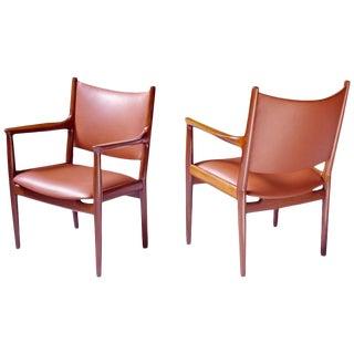 Pair of JH-513 Hans Wegner for Johannes Hansen Teak and Leather Armchairs, 1960s
